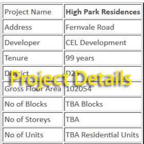 High Park Residences Project Details
